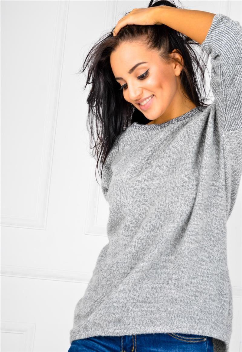 15251a1148e2a6 Miękki sweter z rozcięciem z tyłu i wisiorkiem, Ona Odzież Swetry   Sukienki .shop