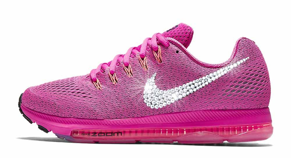 2017 glitter kicks Nike Zoom All Out Low Swarovski Crystal Swoosh Pink de0ce3c684