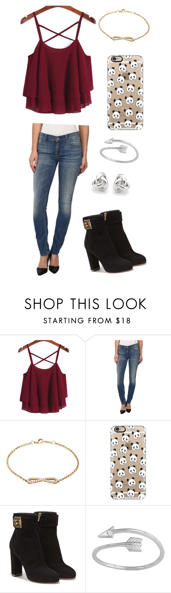 """""""Idk what to name this"""" by squidney12 ❤ liked on Polyvore featuring 7 For All Mankind, Nephora, Casetify, Salvatore Ferragamo and Georgini"""