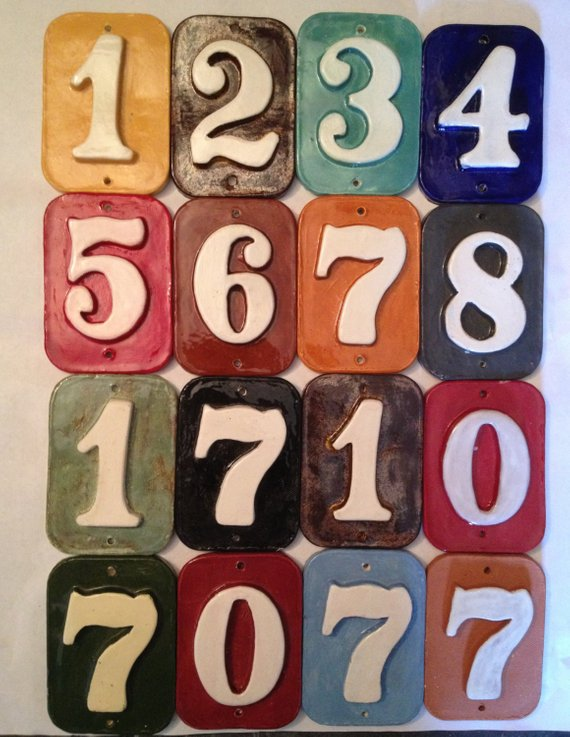 Free ship. House address number tiles handmade ceramic,Fadeproof Your colors