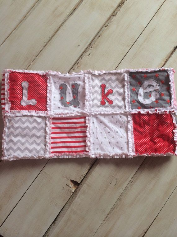 Personalized Red and Gray Rag Quilt with Appliquéd Blue Anchors