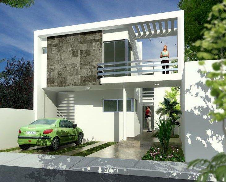 Fachadas de casas modernas con balcon fachadas en 2019 for Fachadas de casas modernas de 6 metros