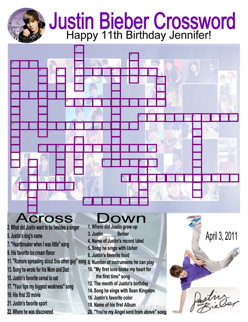 Made this Justin Bieber crossword puzzle for my daughters 11th