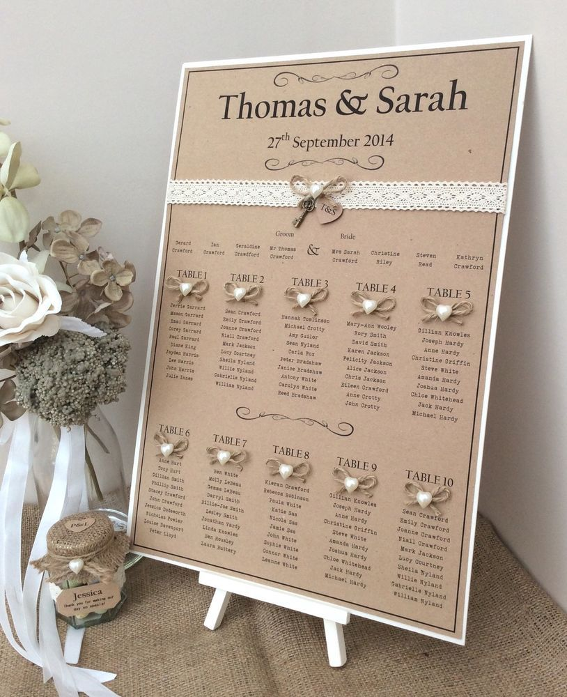 Rustic Wedding Seating Chart Ideas: Rustic/Shabby Chic A3 Wedding Table Seating Plan