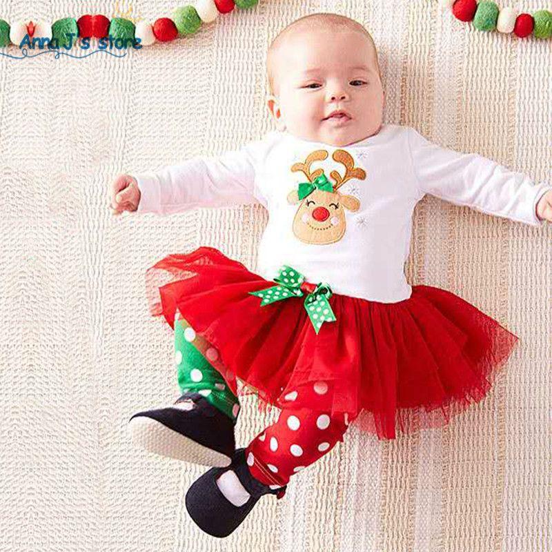 Toddler Baby Girls Deer Print Dress Tops Pants Set Christmas Princess Outfits