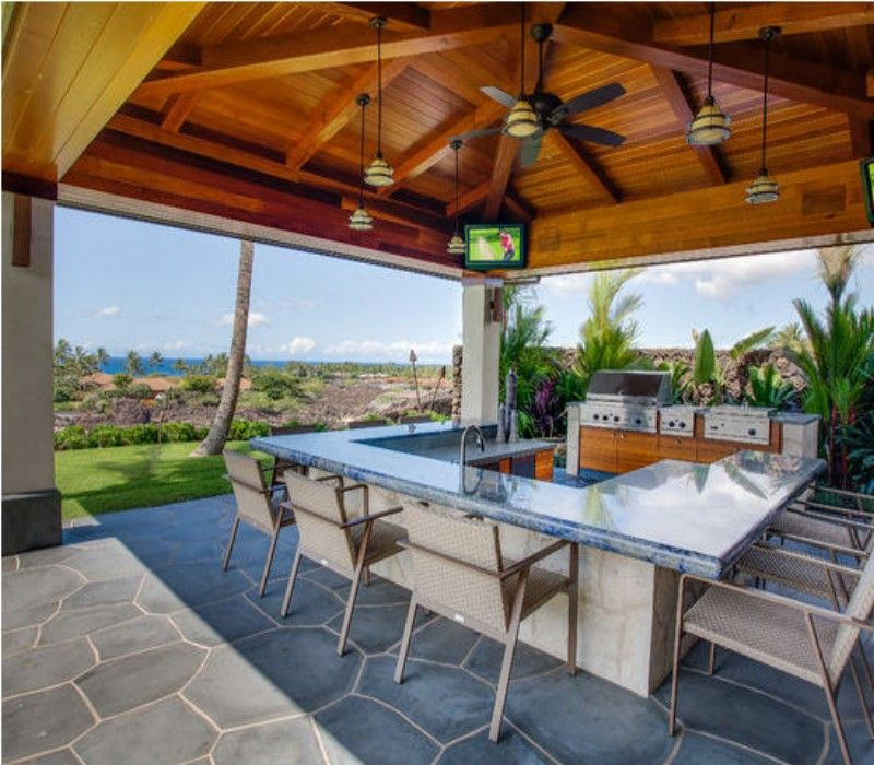Outdoor Kitchen With Thatched Gazebo Outdoor In 2019: Gazebo With Kitchen And Roof