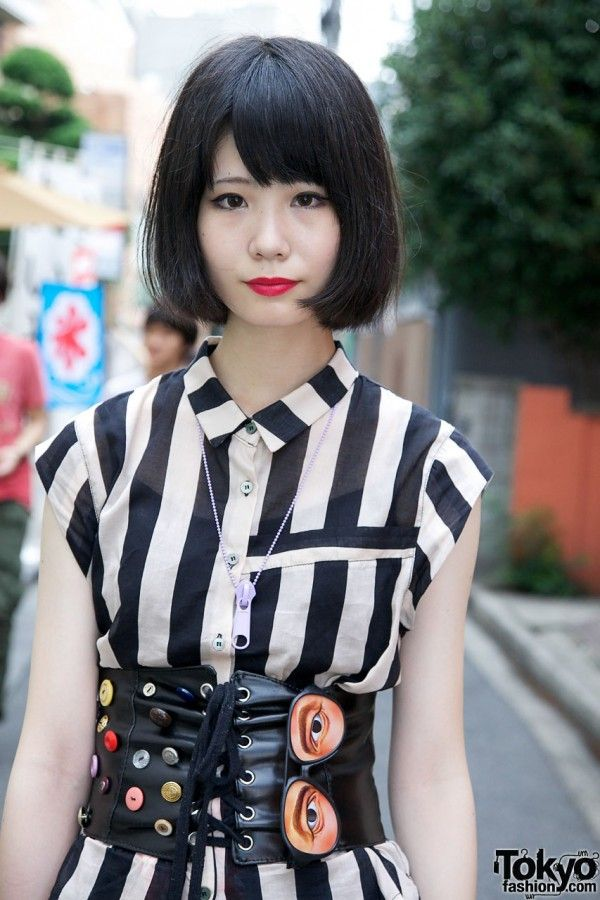 Harajuku Girl's Red Lipstick, Bob Hairstyle, Patch