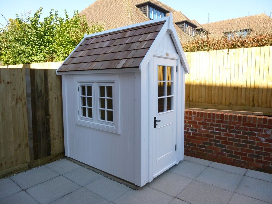 Garden Sheds Exeter potting shed with cedar shingle roof | sheds and creative shelter