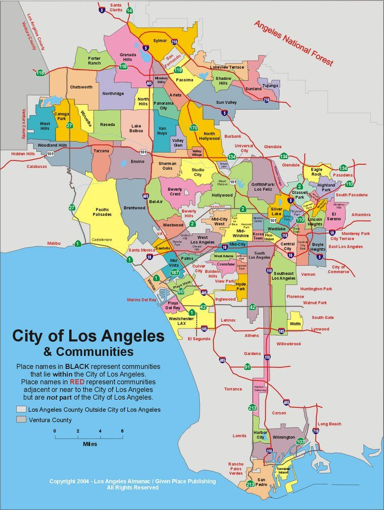 Map Of L A Neighborhoods  CALLED  United States Of