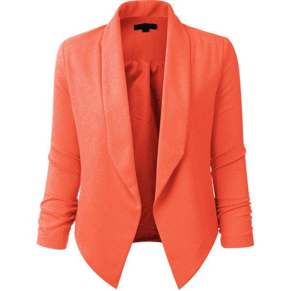 LE3NO Womens Textured 3/4 Sleeve Open Blazer Jacket ($23) ❤ liked on Polyvore featuring outerwear, jackets, blazers, tops, 3/4 sleeve jacket, three quarter sleeve blazer, textured jacket, red jacket and blazer jacket