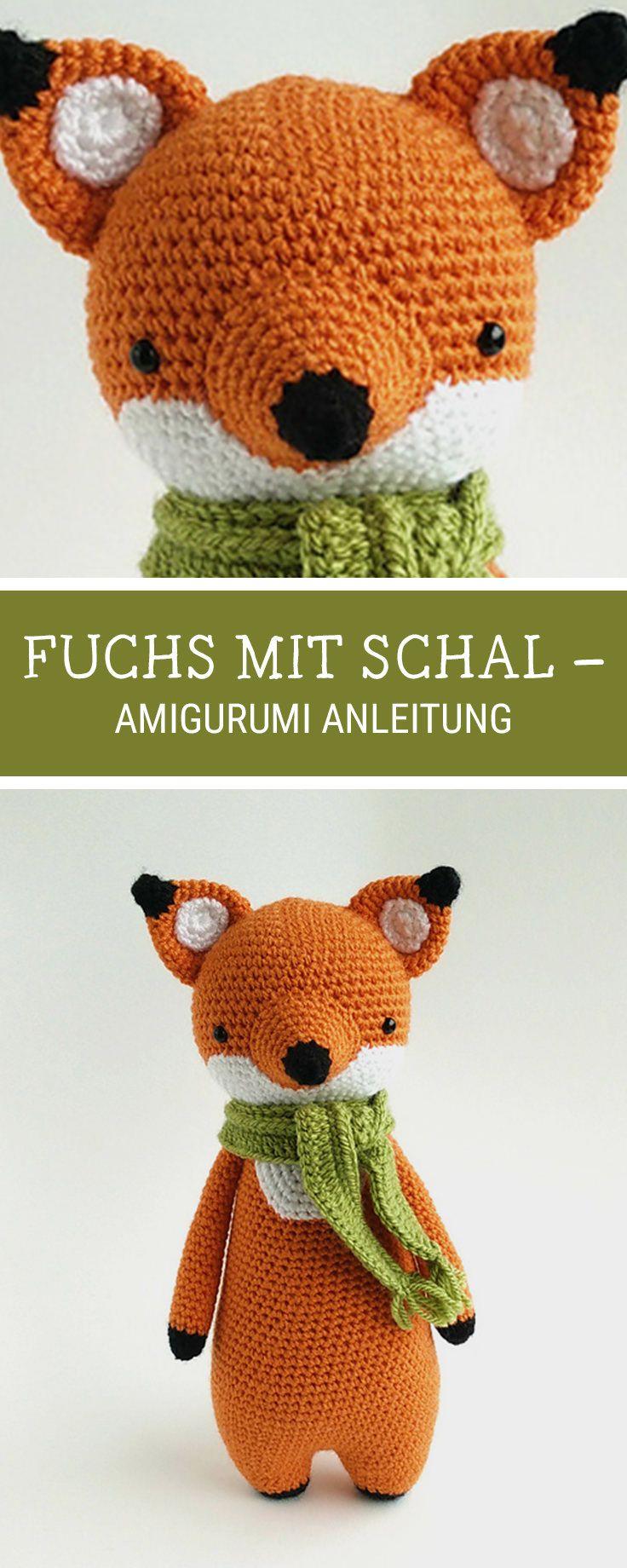 Amigurumi häkeln: Fuchs mit Schal häkeln / amigurumi pattern for a ...