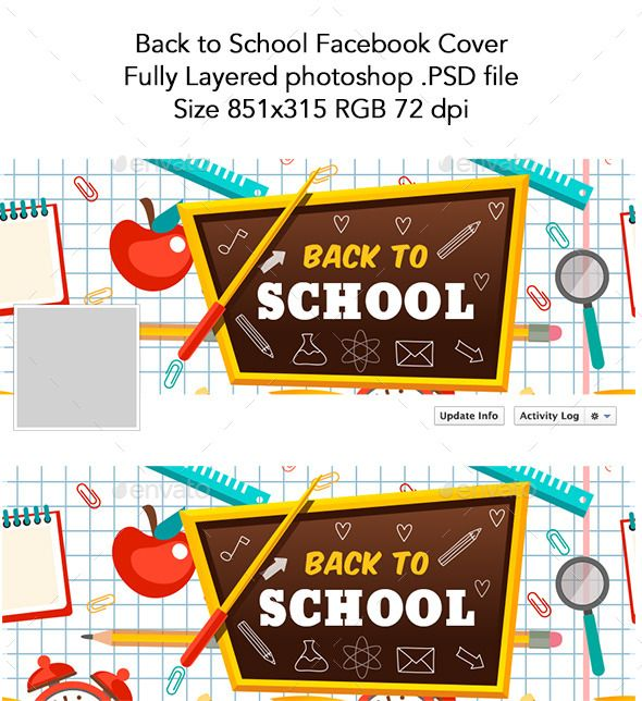 Back to School Facebook Cover Template #design Download   - cover template