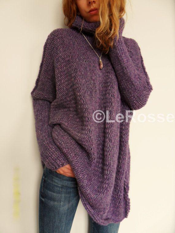 Oversized/Slouchy/Loose knit sweater. Chunky knit sweater. Alpaca ...