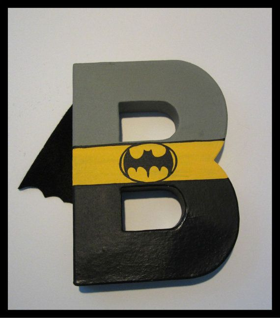 character paper mache character letter with attached cape hand painted superhero party photo. Black Bedroom Furniture Sets. Home Design Ideas