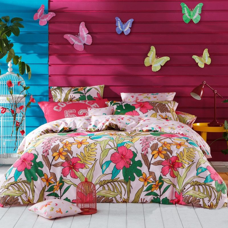 344bbccc446c Aqua Teal Raspberry Red and White Tropical Flower Print Natural Reversible  100% Cotton Full
