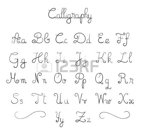 Hand Drawn Calligraphic Font Stock Vector