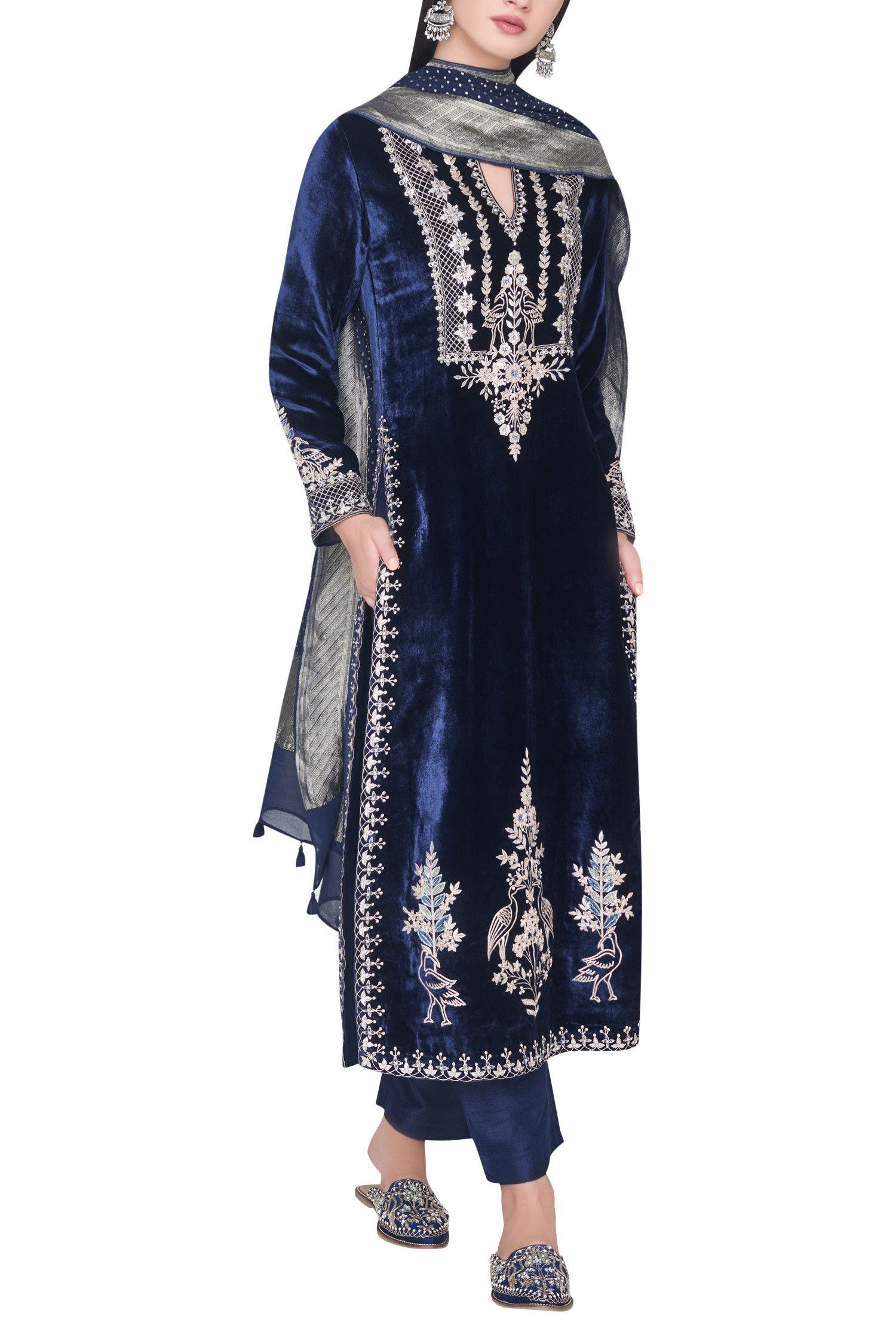Buy Gota Patti Embroidered Kurta Set By Anita Dongre At Aza Fashions Velvet Dress Designs Indian Designer Outfits Dresses Formal Elegant