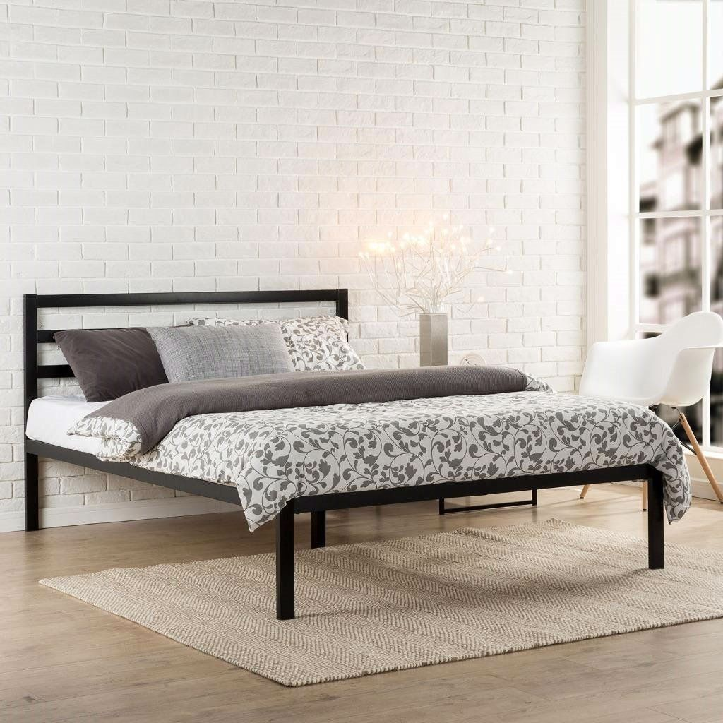 King Metal Platform Bed Frame With Headboard And Wood Slats In 2020 Headboards For Beds Metal Platform Bed Bed Frame Headboard