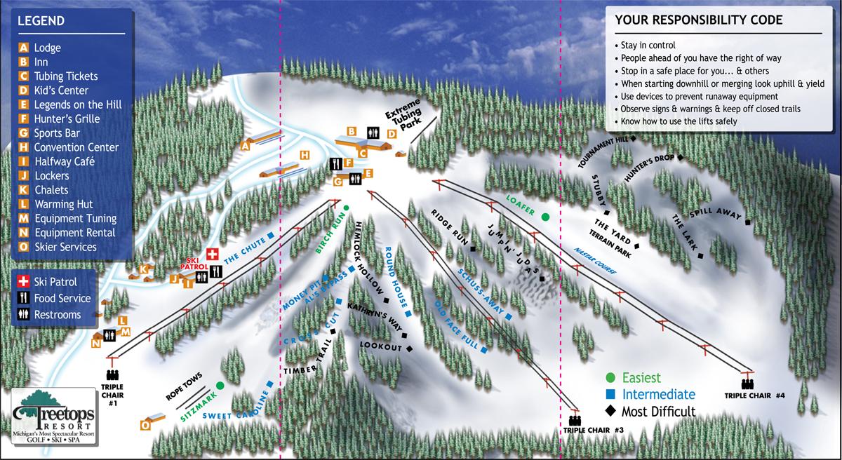 Skiing In Michigan Map.Treetops Resort Michigan Ski Resort Downhill Skiing And