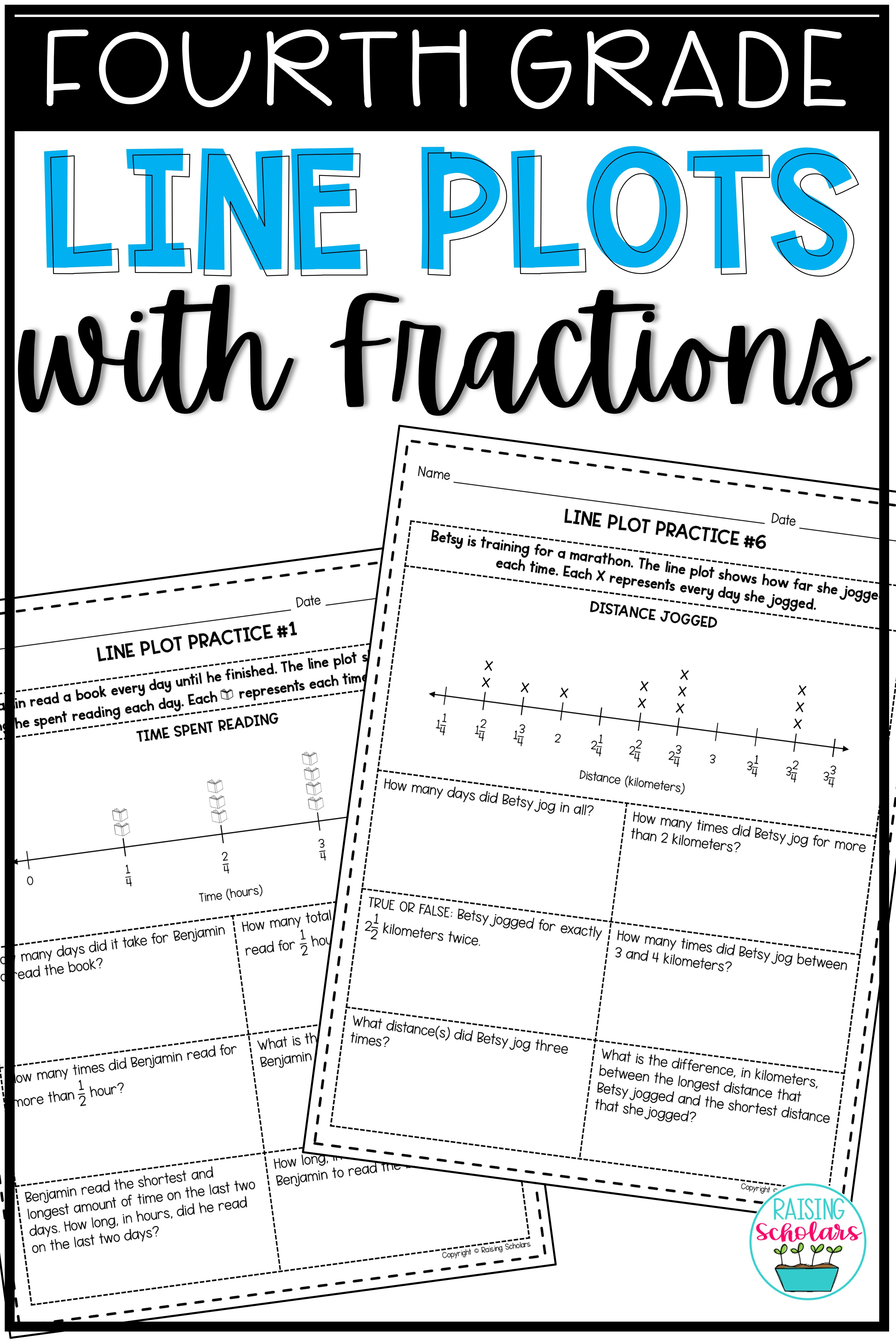 Line Plots With Fractions 4th Grade Distance Learning Fraction Practice Fractions Line Plot Worksheets