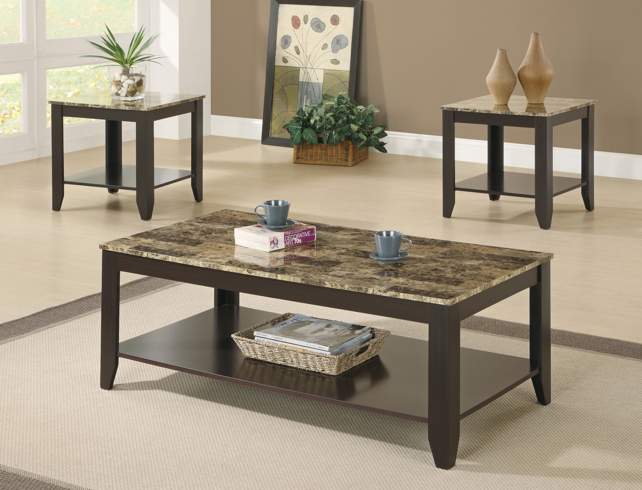 Table Set 3 Piece Set Cappuccino Marble Look Top