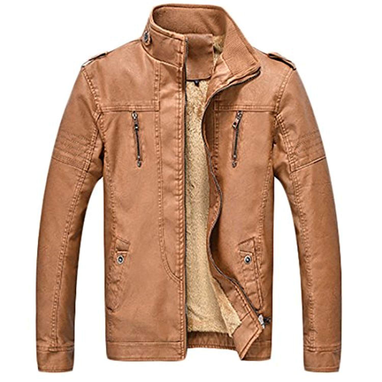 Casual Slim Fit Full Zip Faux Leather Fur Lined Fleece