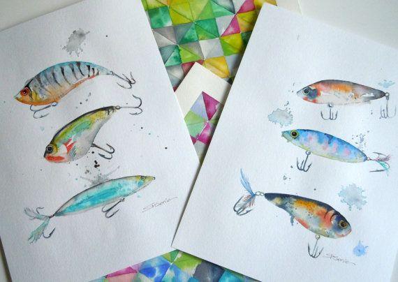 Fishing Lures Watercolor Original Painting By Limezinniasdesign