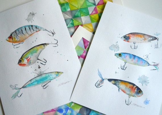 Fishing Lures Original Watercolor Painting By Limezinniasdesign