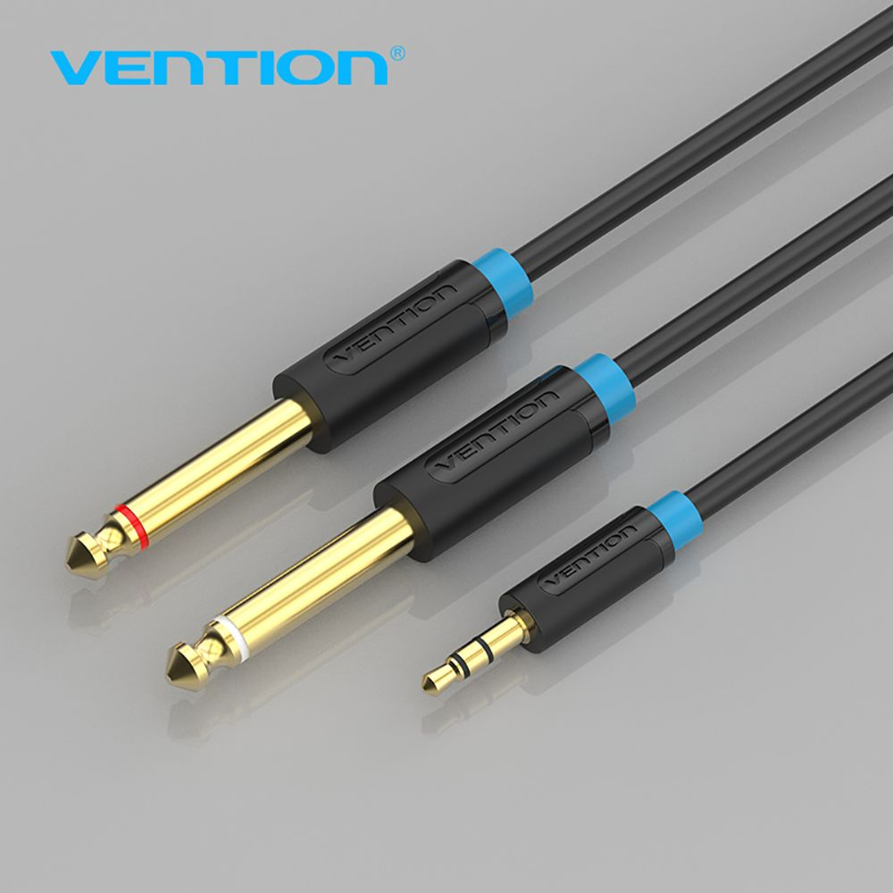 Vention 3.5mm Jack Plug to Double 6.35mm Dual Adapter Jack Audio ...