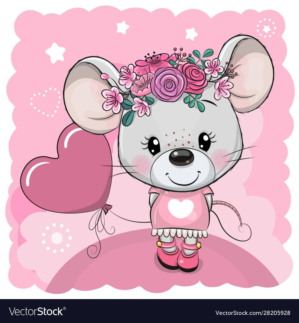Cartoon Mouse With Flowers And Balloon On A Pink Vector Image On Vectorstock Cute Cartoon Drawings Cute Drawings Fox Artwork