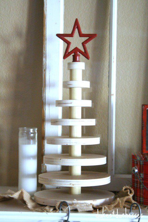 A Rustic Stacked Wood Christmas Tree