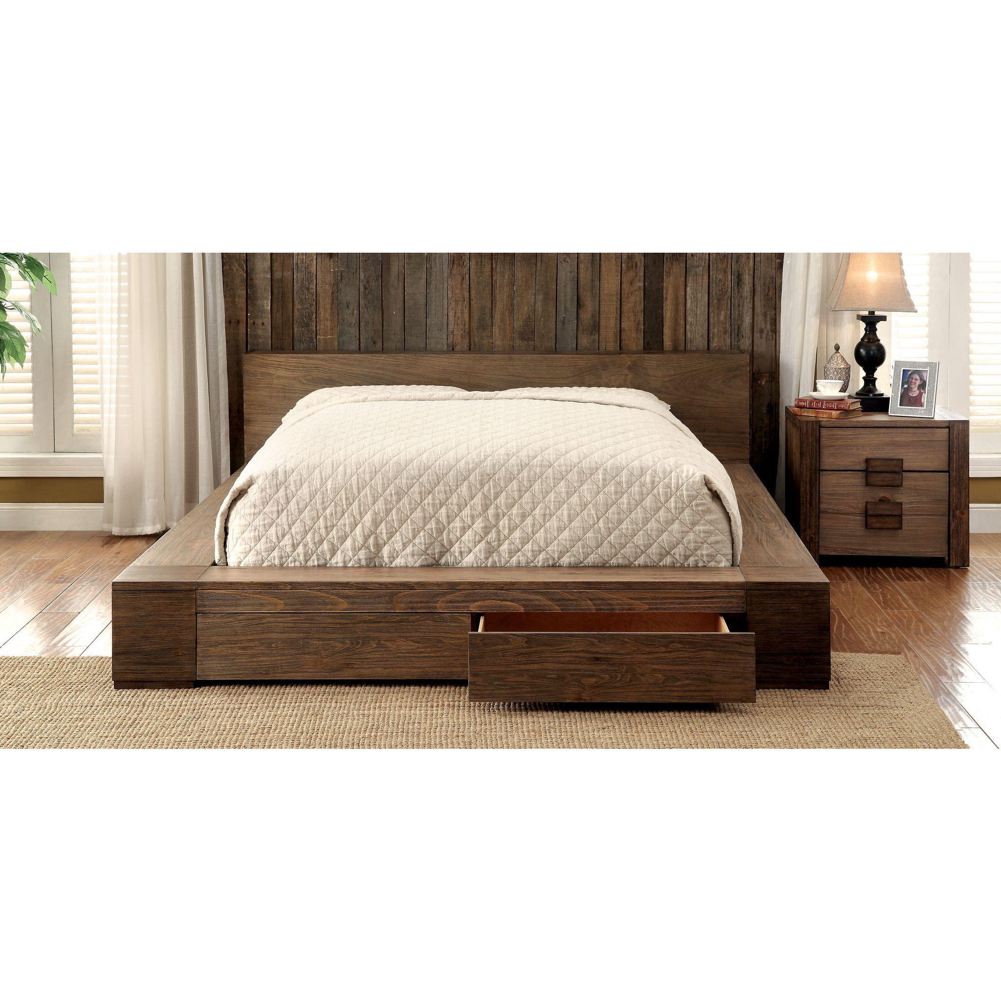 Moline Ii Transitional Low Profile California King Storage Platform Bed In Rustic Natural Tone Furniture Upholstered Platform Bed Solid Wood Storage