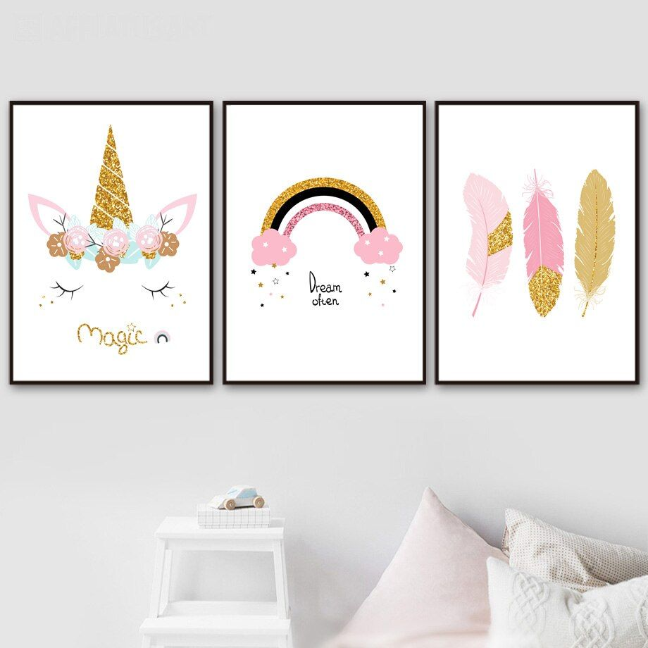 Rainbow Unicorn Feather Canvas Posters With Images Feather