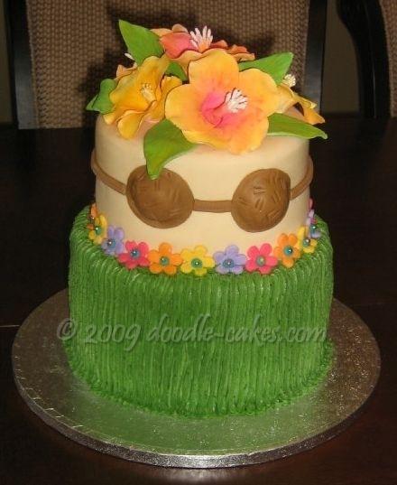 Hula Skirt Cake With Hibiscus Flowers Coconut Bra