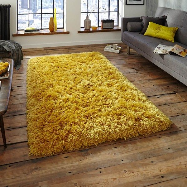 Polar PL95 Shaggy Rugs In Yellow