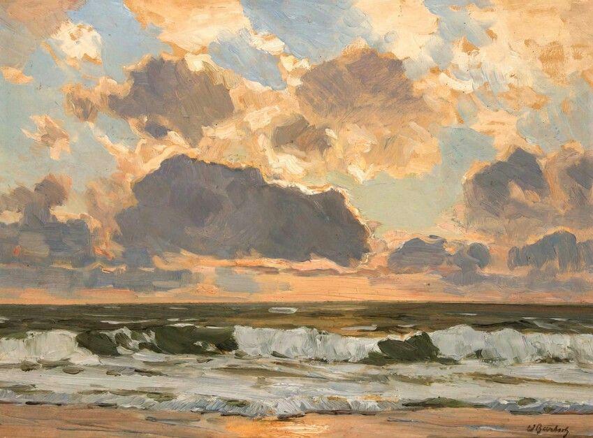 Sunset on Sylt  -  Wilhelm Bartsch  German , 1871–1953  oil on artist's board,38.00 x 50.00 cm
