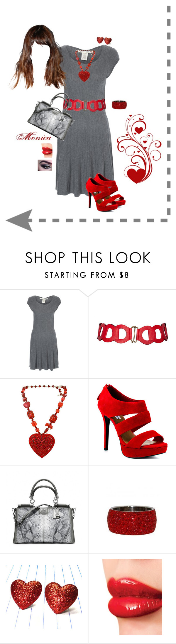 """Red & Grey - Classy"" by monicaprates ❤ liked on Polyvore featuring Max Studio, Tarina Tarantino, Steve Madden, Coach and NYX"