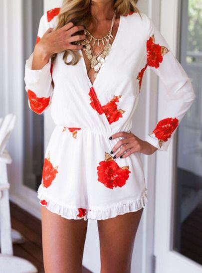 40a80856c0cd White Deep V Neck Floral Slim Jumpsuit