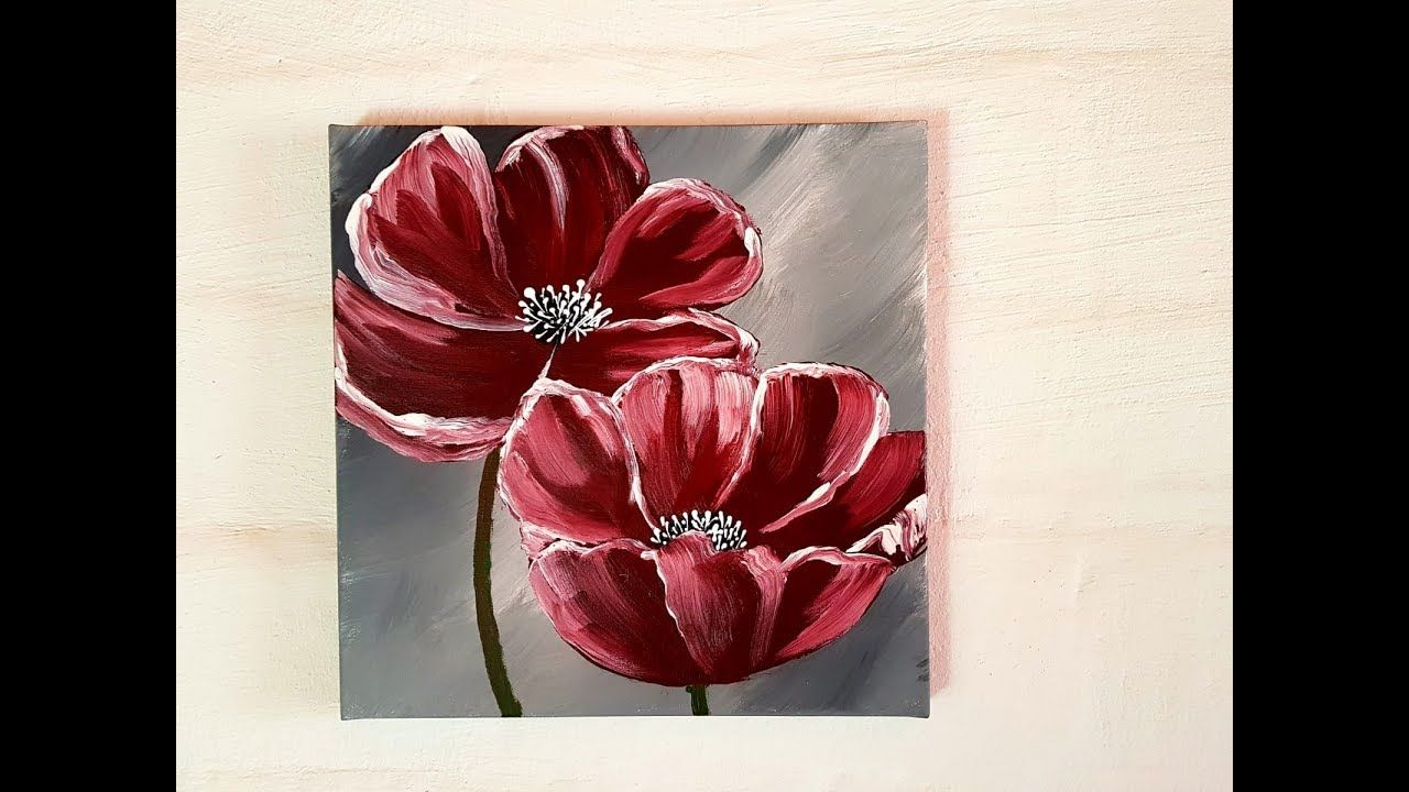 Blumen Malen Acryl Fa R Anfa Nger Flowers Acrylic Painting For Beginners Youtu Acrylic Painting For Beginners Acrylic Painting Flowers Easy Flower Painting