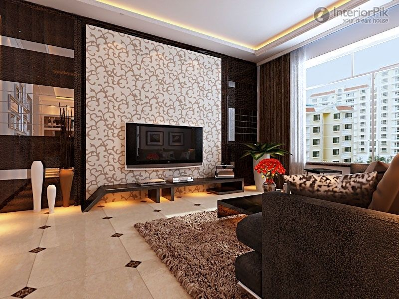 modern stylish three bedroom living room tv background wall decoration effect chart greatly entire 2012 picture - Interior Design Living Room 2012