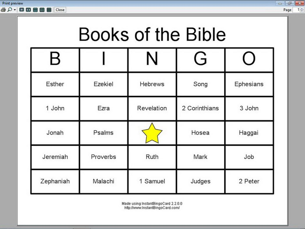 View Document Books The Bible Bingo Cards