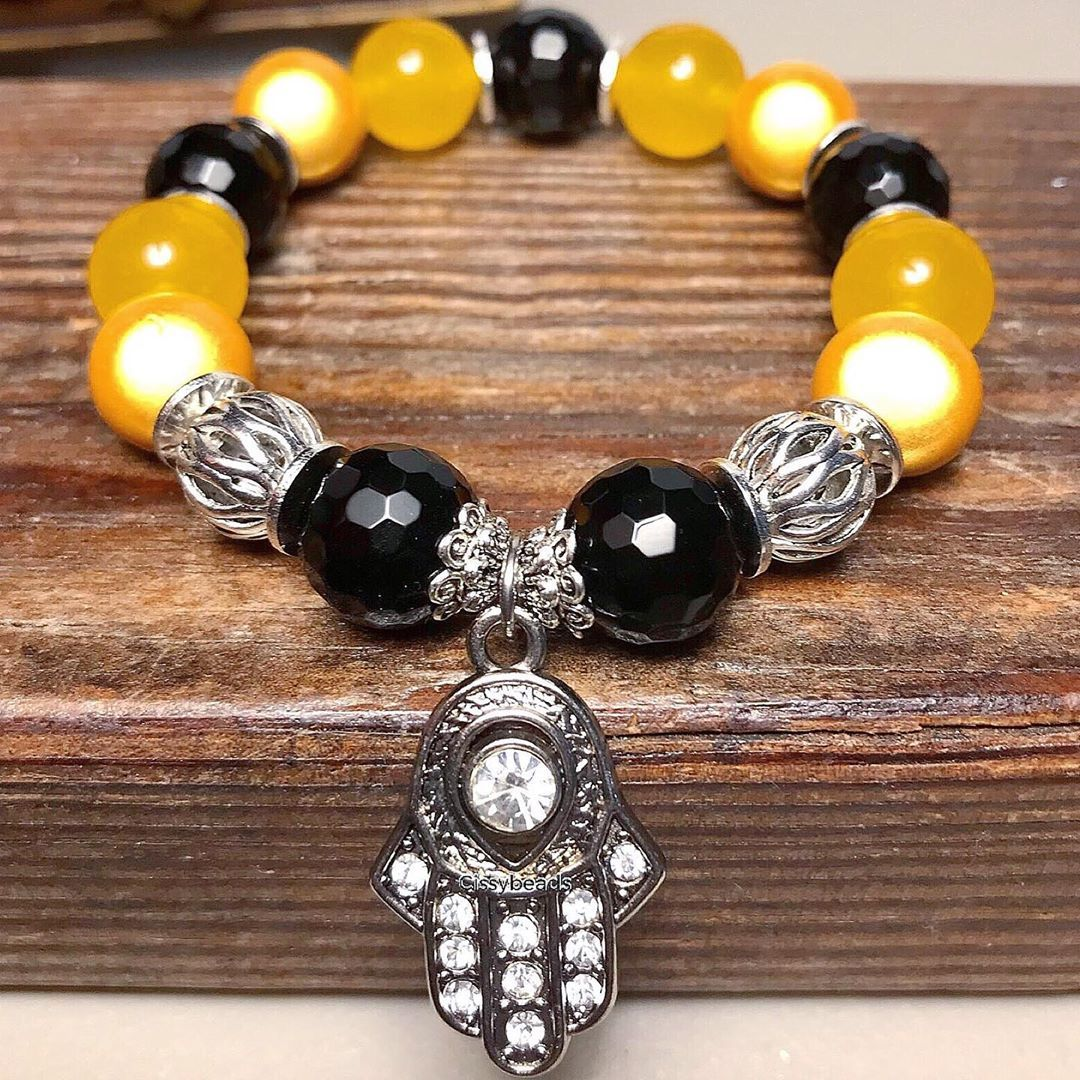 12mm Onyx Yellow Jade And Illusion Bead Stretch Bracelet With A