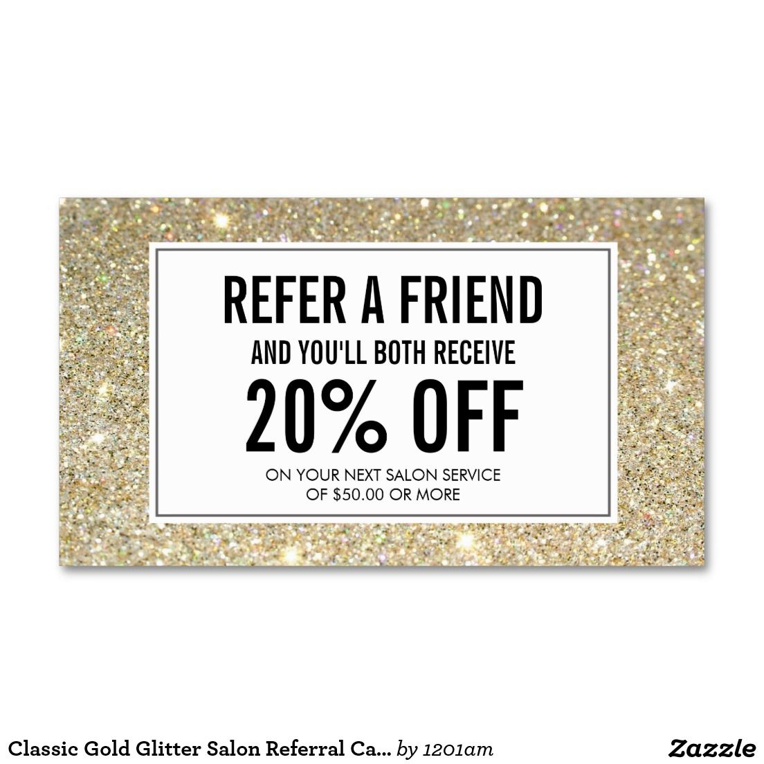 Classic Gold Glitter Salon Referral Card | Gold glitter, Business ...