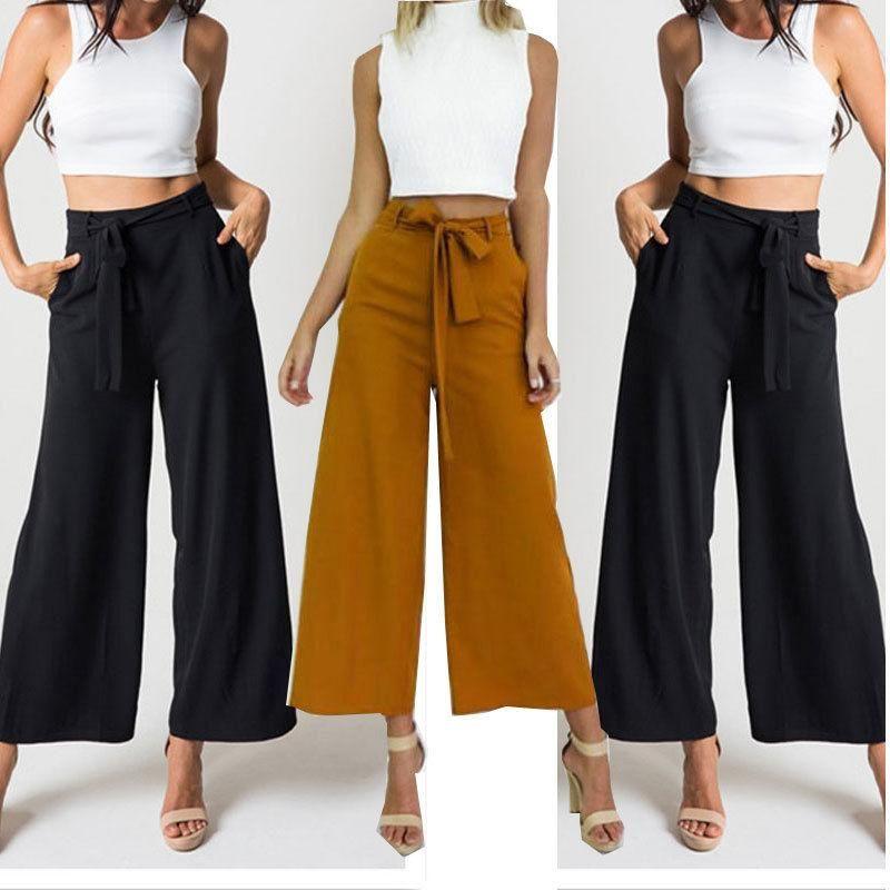 High Waist Cropped Pants Women