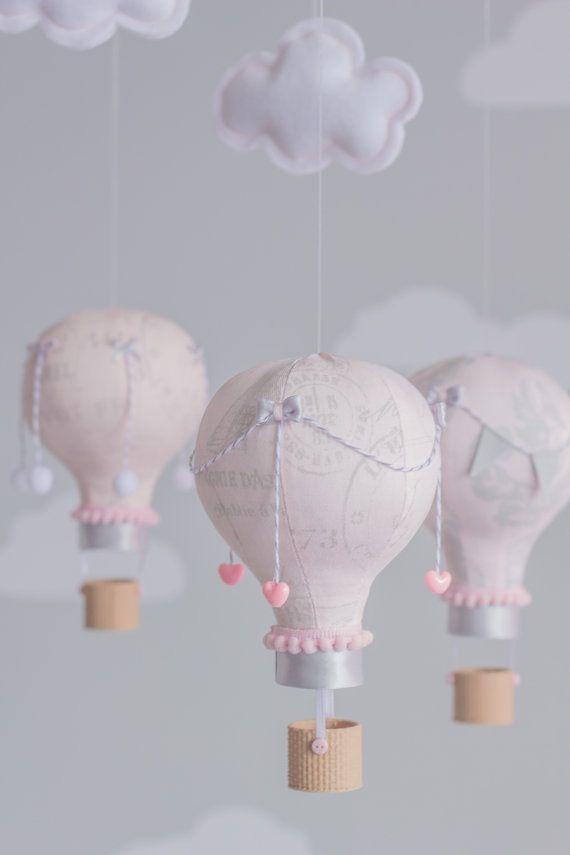 rot, rosa und grau baby mobile, heißluft ballon mobile ... - Kinderzimmer Rot Grau