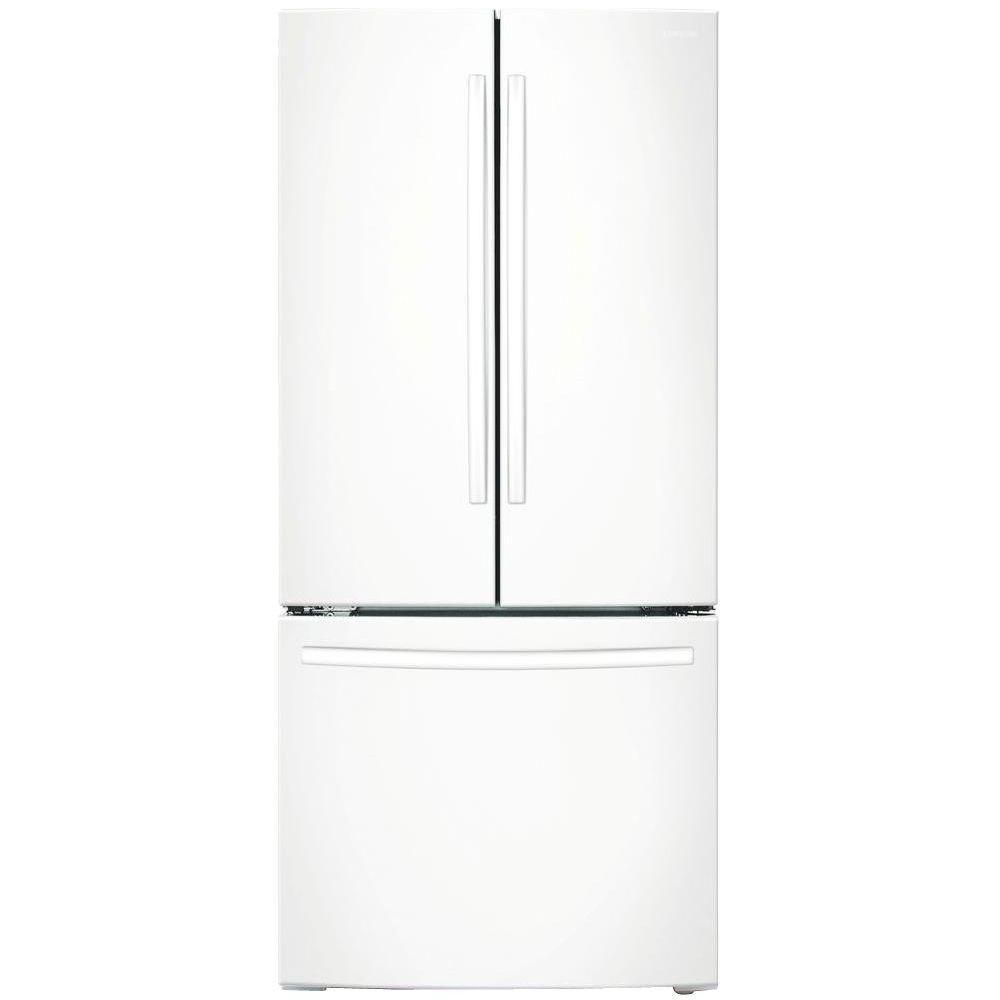 Samsung 33 In W 17 5 Cu Ft French Door Refrigerator In White Counter Depth Rf18hfenbww The Home Depot Counter Depth French Door Refrigerator Counter Depth French Door Refrigerator