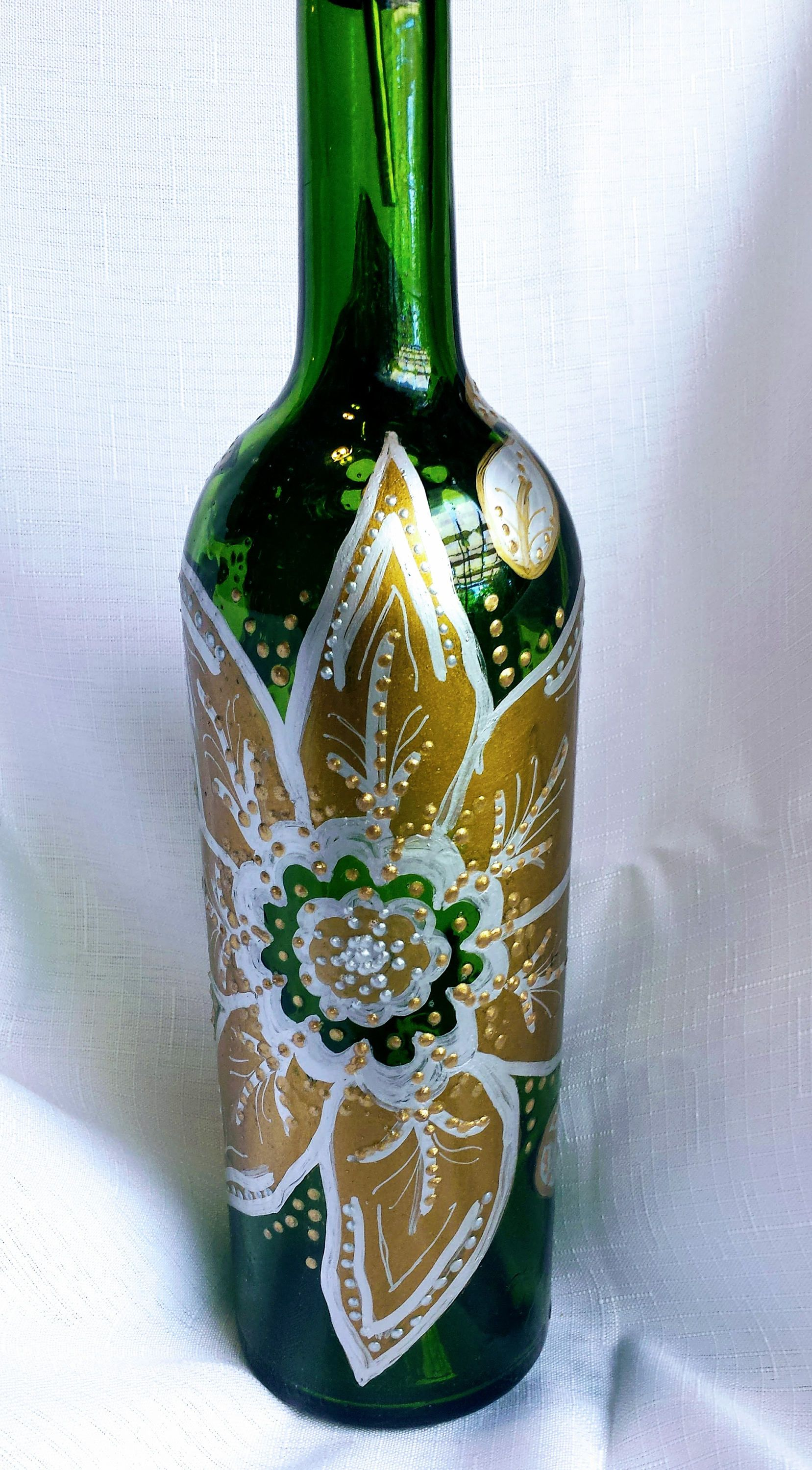 Decorative Oil Bottle Hand Painted Sealed Glass Bottledecorative Decanteroil Bottle