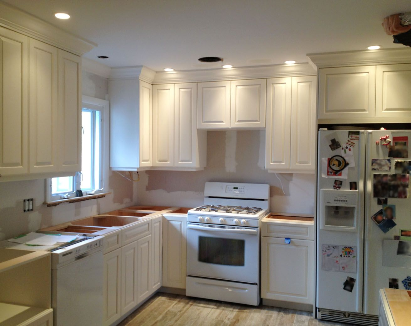Painted White solid wood maple Cabinetry with crown ...