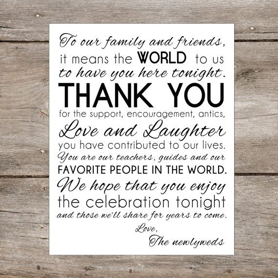 Instant 8 X 10 Thank You Family Friends Wedding Sign Diy Printable Digital