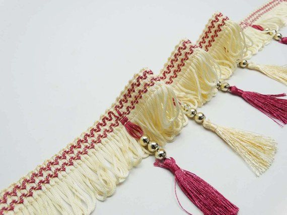4 Wide Tassel Trim Curtain Fringe Lace Upholstery Ribbon Sewing Trim Indian Home Decor Golden Beade #curtainfringe